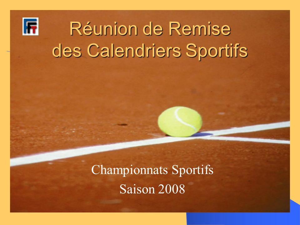 Réunion de Remise des Calendriers Sportifs Championnats Sportifs Saison 2008