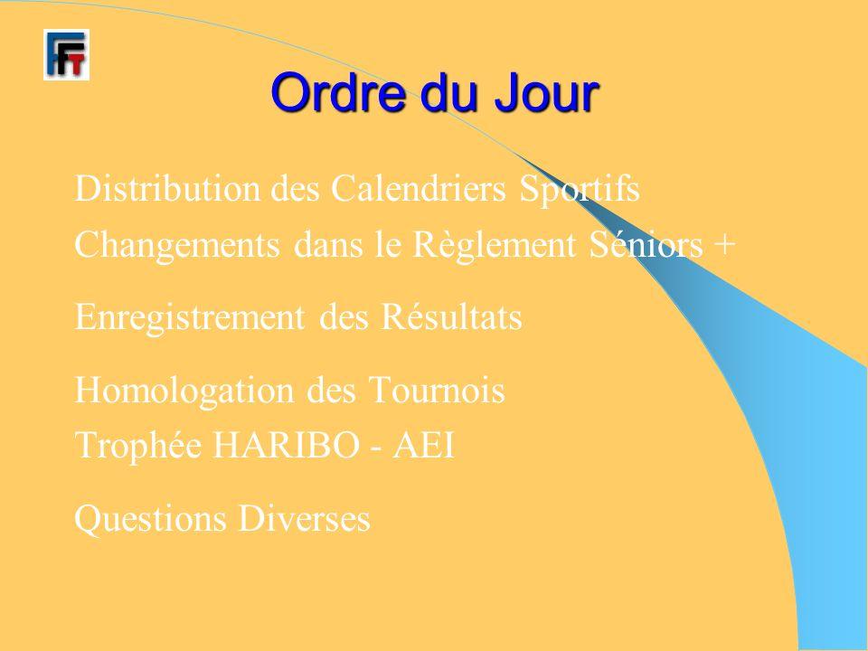Ordre du Jour Distribution des Calendriers Sportifs Changements dans le Règlement Séniors + Enregistrement des Résultats Homologation des Tournois Trophée HARIBO - AEI Questions Diverses