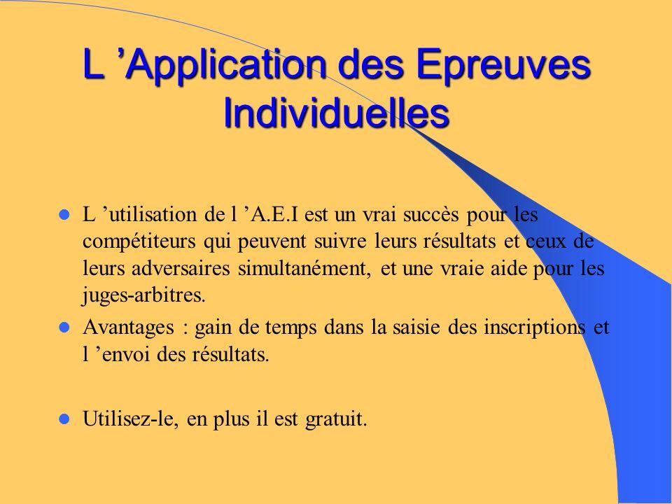 L Application des Epreuves Individuelles L utilisation de l A.E.I est un vrai succès pour les compétiteurs qui peuvent suivre leurs résultats et ceux de leurs adversaires simultanément, et une vraie aide pour les juges-arbitres.