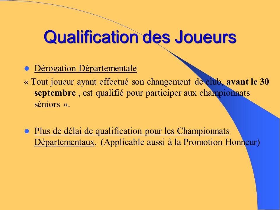 Qualification des Joueurs Dérogation Départementale « Tout joueur ayant effectué son changement de club, avant le 30 septembre, est qualifié pour participer aux championnats séniors ».