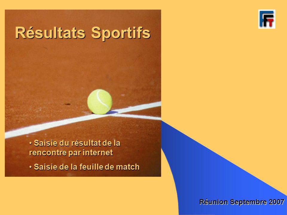 Résultats Sportifs Réunion Septembre 2007 Saisie du résultat de la rencontre par internet Saisie du résultat de la rencontre par internet Saisie de la feuille de match Saisie de la feuille de match