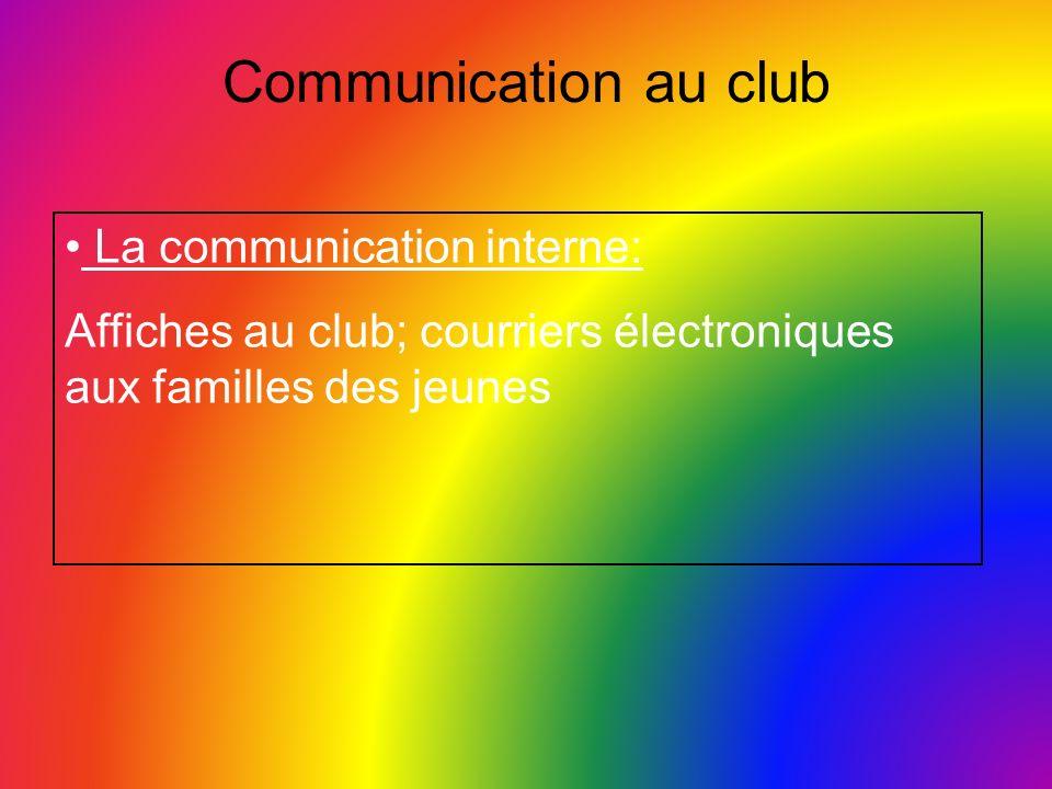 Communication au club La communication interne: Affiches au club; courriers électroniques aux familles des jeunes