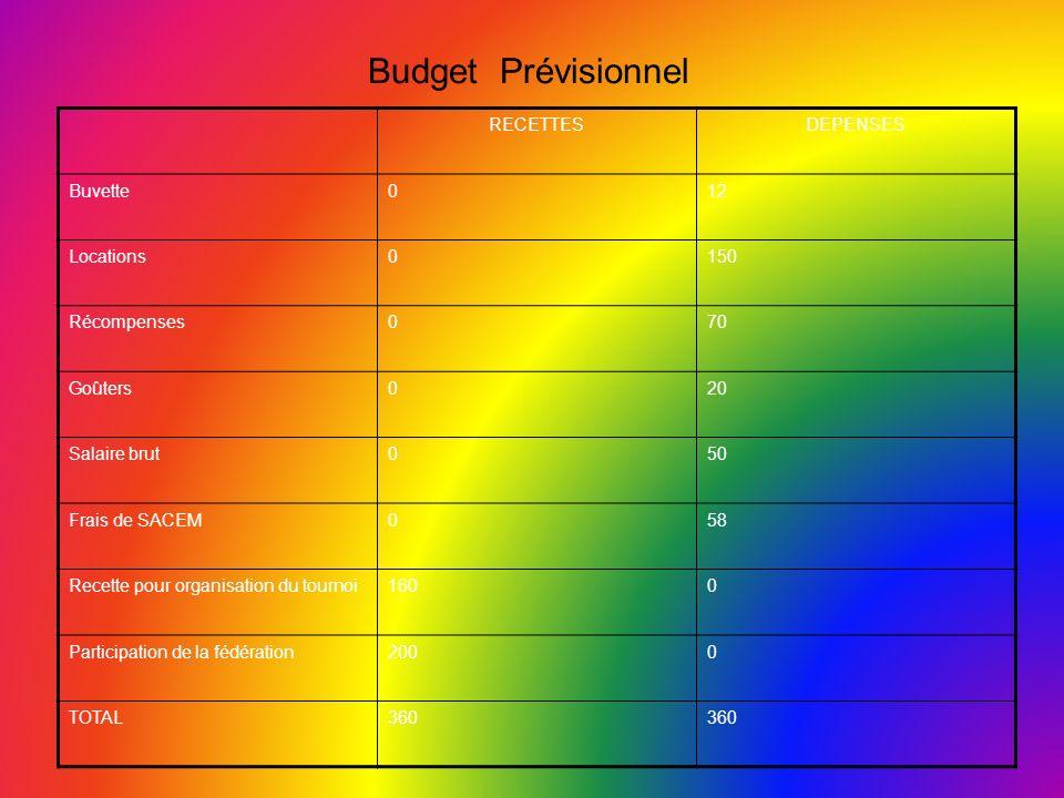 Budget Prévisionnel RECETTESDEPENSES Buvette012 Locations0150 Récompenses070 Goûters020 Salaire brut050 Frais de SACEM058 Recette pour organisation du