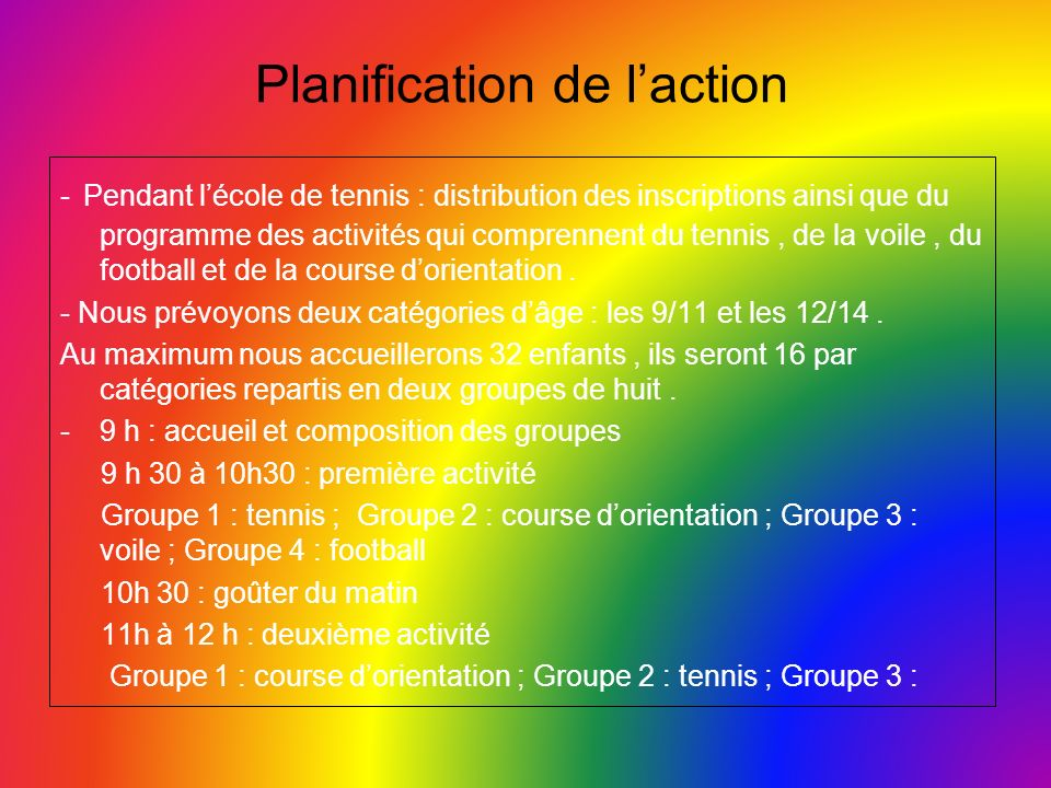Planification de laction - Pendant lécole de tennis : distribution des inscriptions ainsi que du programme des activités qui comprennent du tennis, de