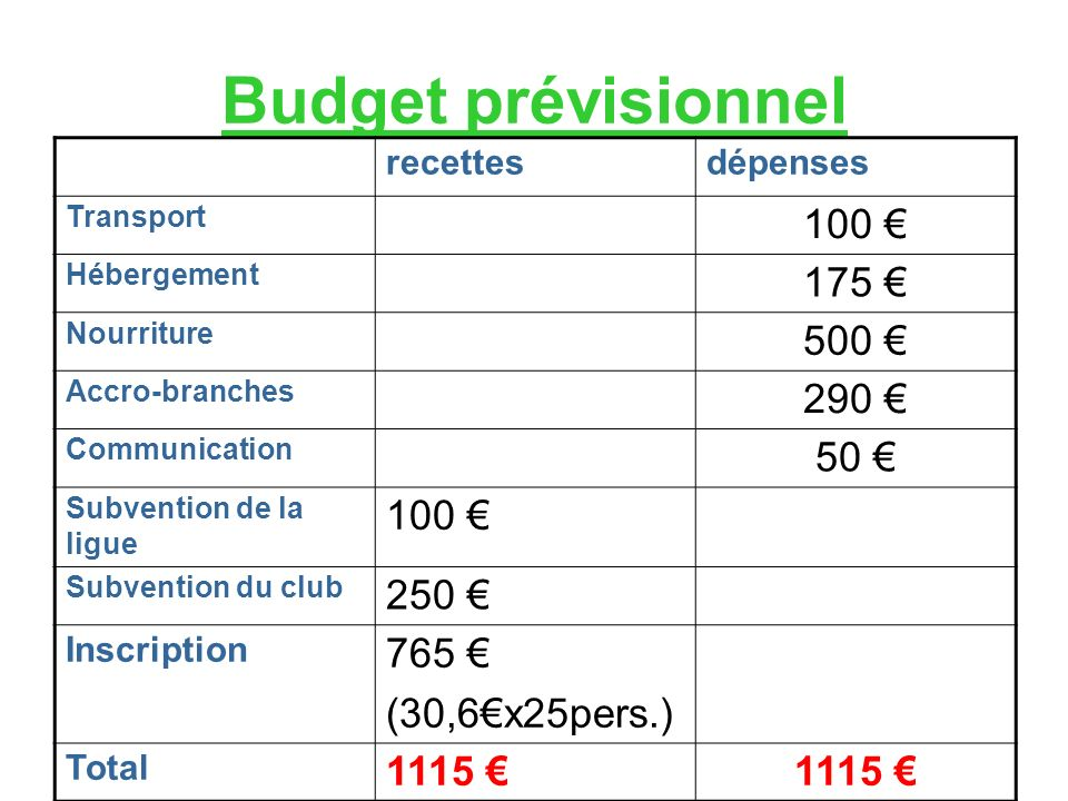 Budget prévisionnel recettesdépenses Transport 100 Hébergement 175 Nourriture 500 Accro-branches 290 Communication 50 Subvention de la ligue 100 Subvention du club 250 Inscription 765 (30,6x25pers.) Total 1115