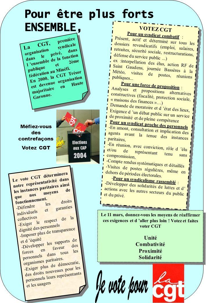 La CGT, première organisation syndicale dans le privé, dans l ensemble de la fonction publique et 2ème fédération au Minéfi. En 2000, la CGT Trésor es
