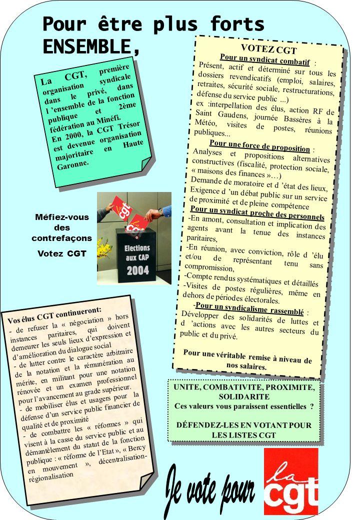 La CGT, première organisation syndicale dans le privé, dans l ensemble de la fonction publique et 2ème fédération au Minéfi.