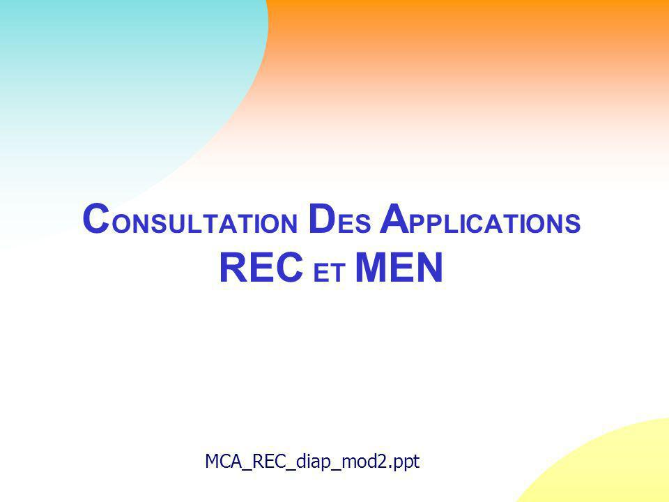 C ONSULTATION D ES A PPLICATIONS REC ET MEN MCA_REC_diap_mod2.ppt