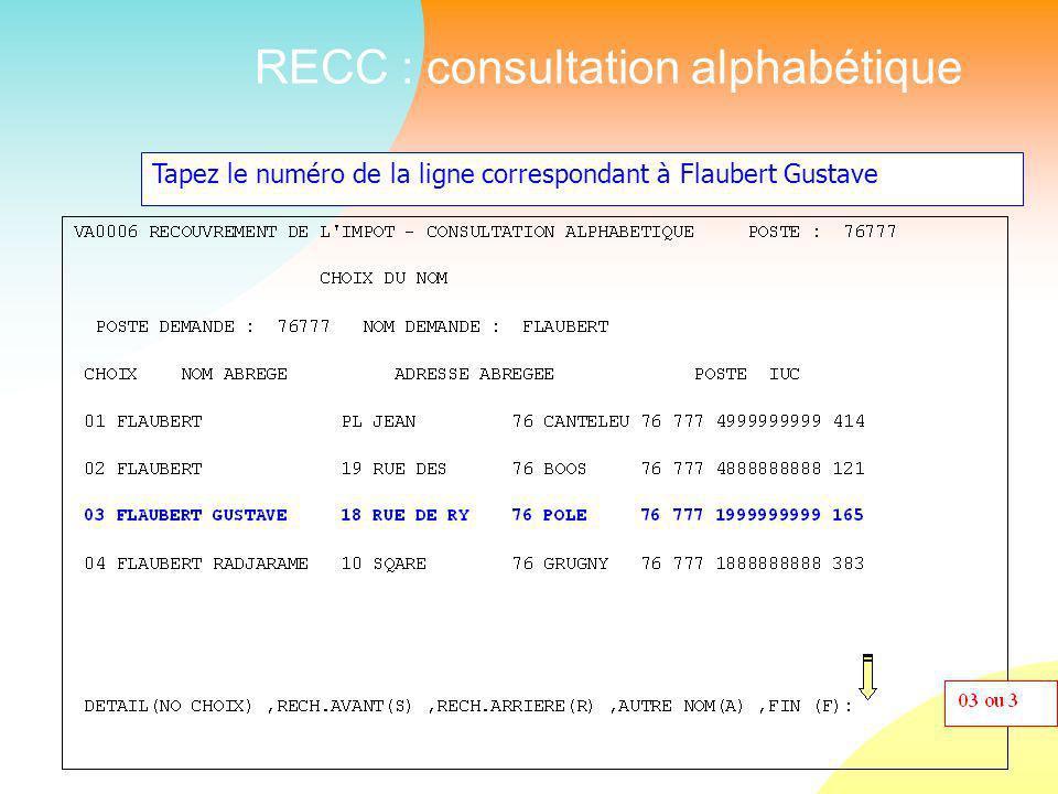 RECC : consultation alphabétique Tapez le numéro de la ligne correspondant à Flaubert Gustave