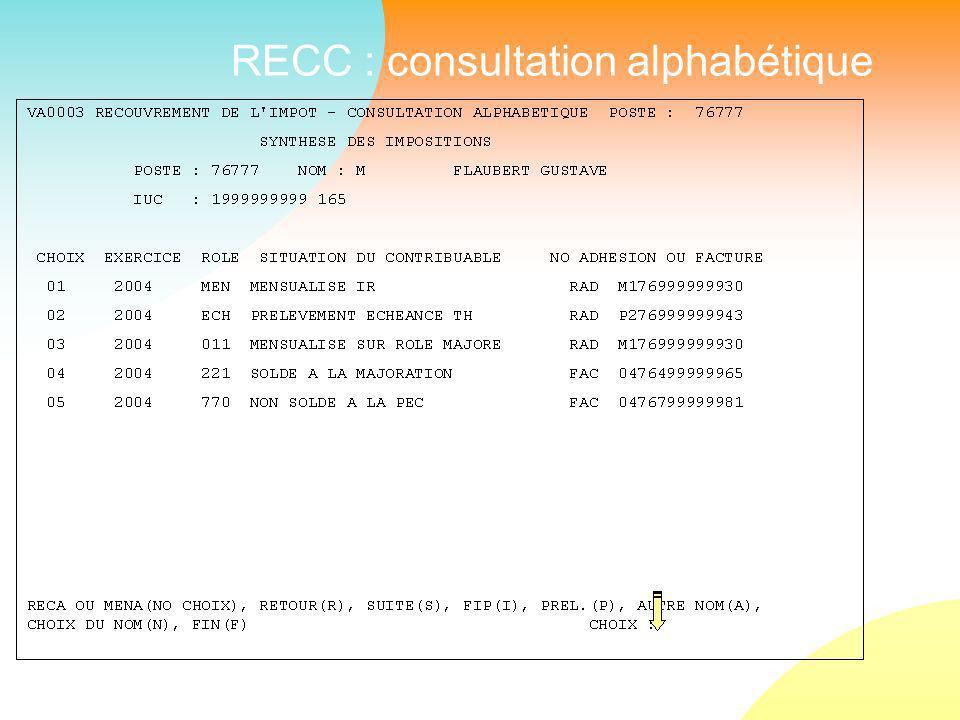 RECC : consultation alphabétique