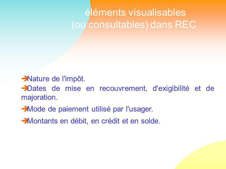 éléments visualisables (ou consultables) dans REC Nature de l impôt.