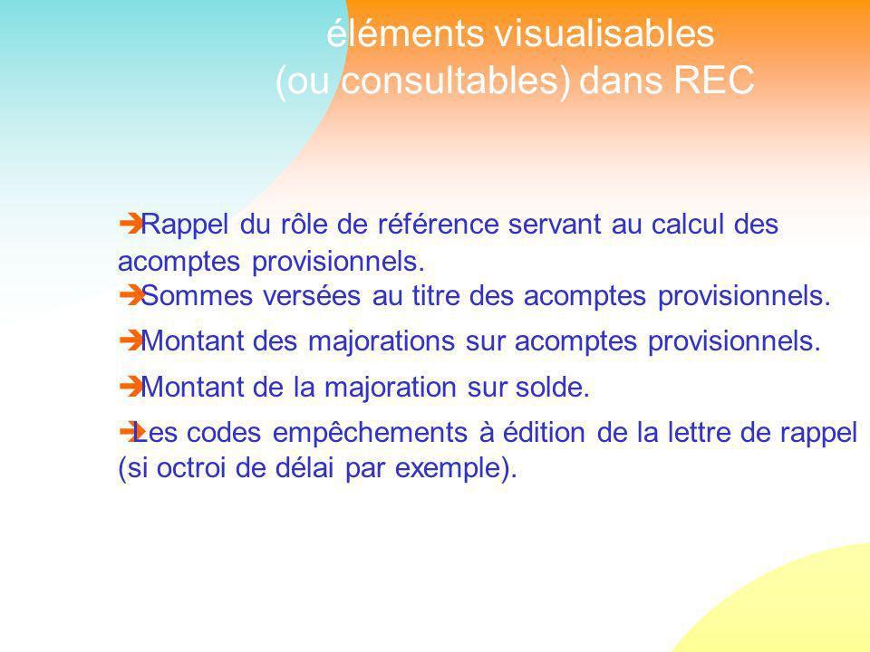 éléments visualisables (ou consultables) dans REC Rappel du rôle de référence servant au calcul des acomptes provisionnels.