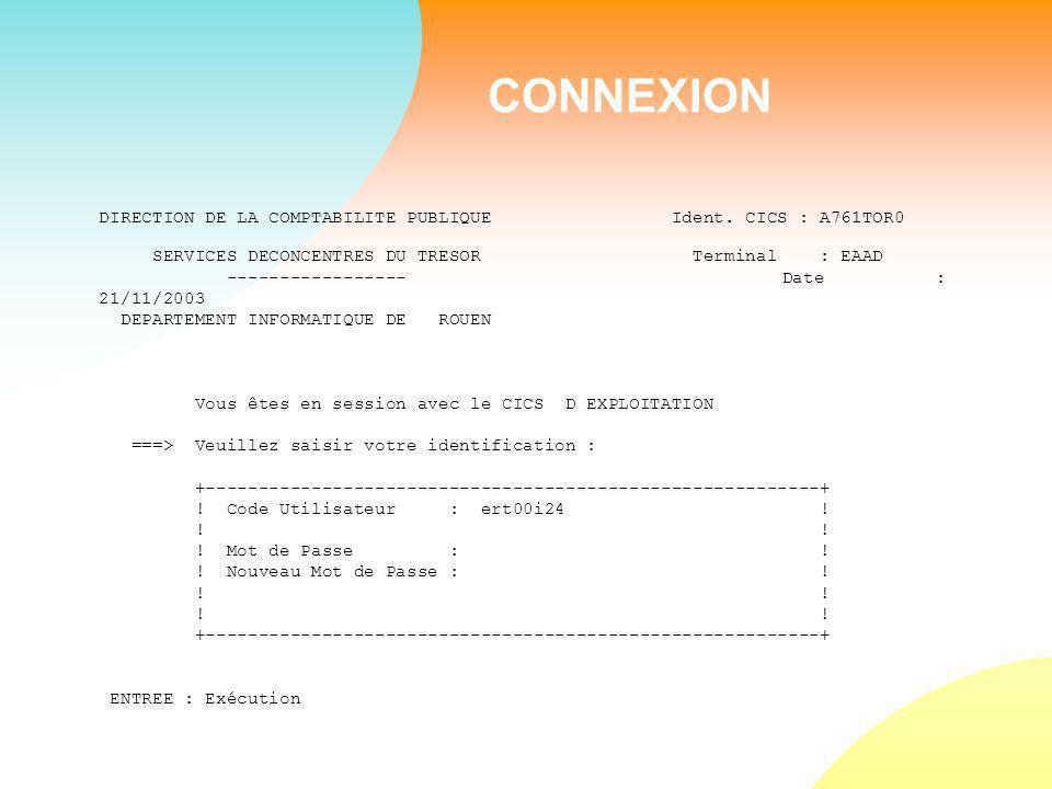 CONNEXION DIRECTION DE LA COMPTABILITE PUBLIQUE Ident.