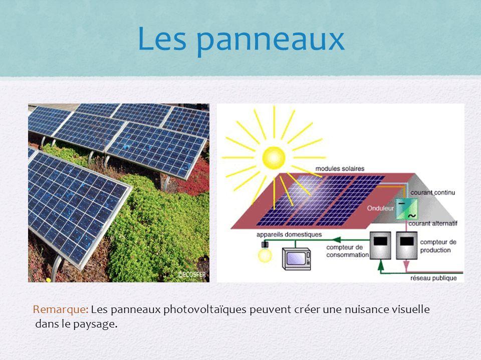 Remarque: Les panneaux photovoltaïques peuvent créer une nuisance visuelle dans le paysage.