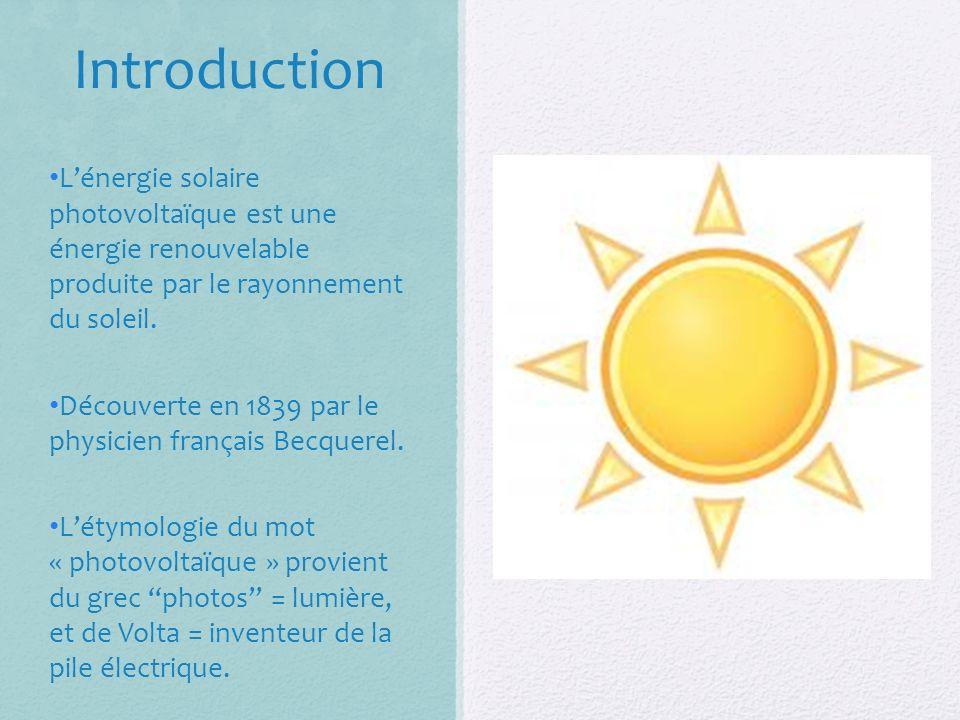 Introduction Lénergie solaire photovoltaïque est une énergie renouvelable produite par le rayonnement du soleil.