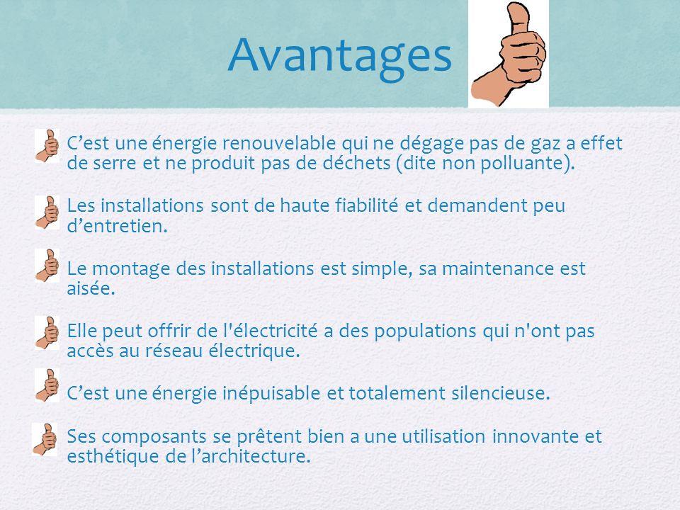 Avantages Cest une énergie renouvelable qui ne dégage pas de gaz a effet de serre et ne produit pas de déchets (dite non polluante).