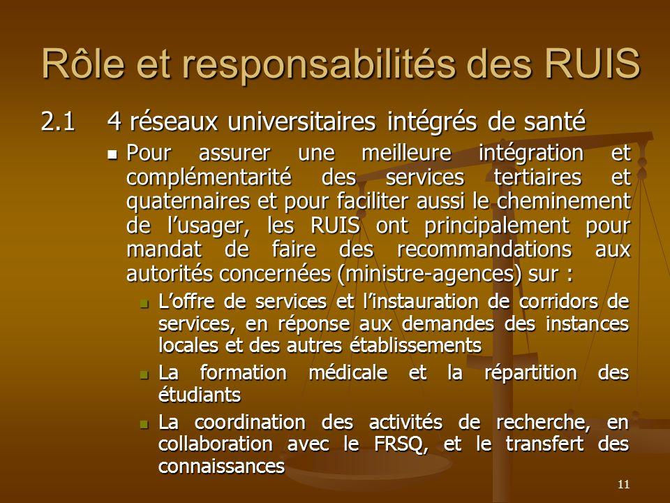 11 Rôle et responsabilités des RUIS 2.14 réseaux universitaires intégrés de santé Pour assurer une meilleure intégration et complémentarité des servic