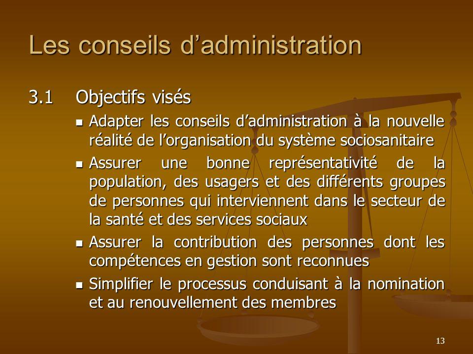 13 Les conseils dadministration 3.1Objectifs visés Adapter les conseils dadministration à la nouvelle réalité de lorganisation du système sociosanitai