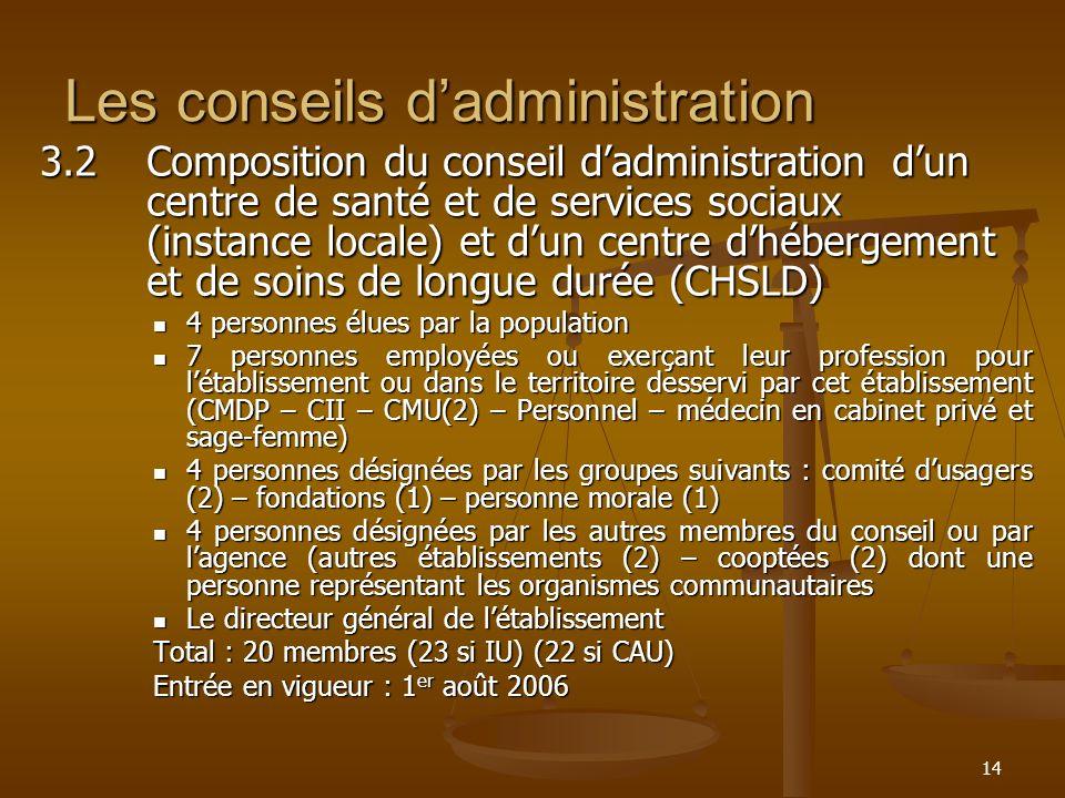 14 Les conseils dadministration 3.2Composition du conseil dadministration dun centre de santé et de services sociaux (instance locale) et dun centre d