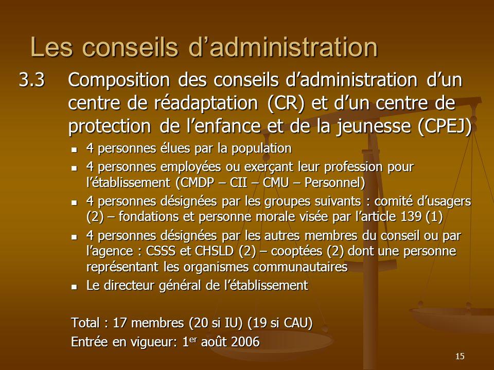 15 Les conseils dadministration 3.3Composition des conseils dadministration dun centre de réadaptation (CR) et dun centre de protection de lenfance et