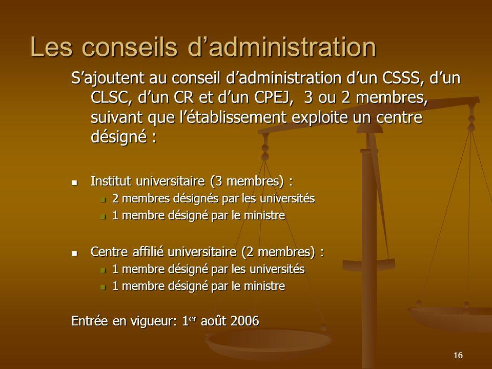 16 Les conseils dadministration Sajoutent au conseil dadministration dun CSSS, dun CLSC, dun CR et dun CPEJ, 3 ou 2 membres, suivant que létablissemen