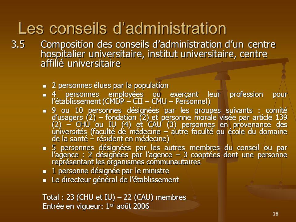 18 Les conseils dadministration 3.5Composition des conseils dadministration dun centre hospitalier universitaire, institut universitaire, centre affil