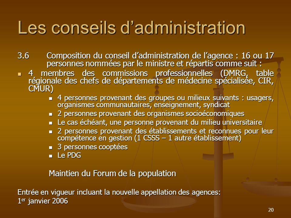 20 Les conseils dadministration 3.6Composition du conseil dadministration de lagence : 16 ou 17 personnes nommées par le ministre et répartis comme su