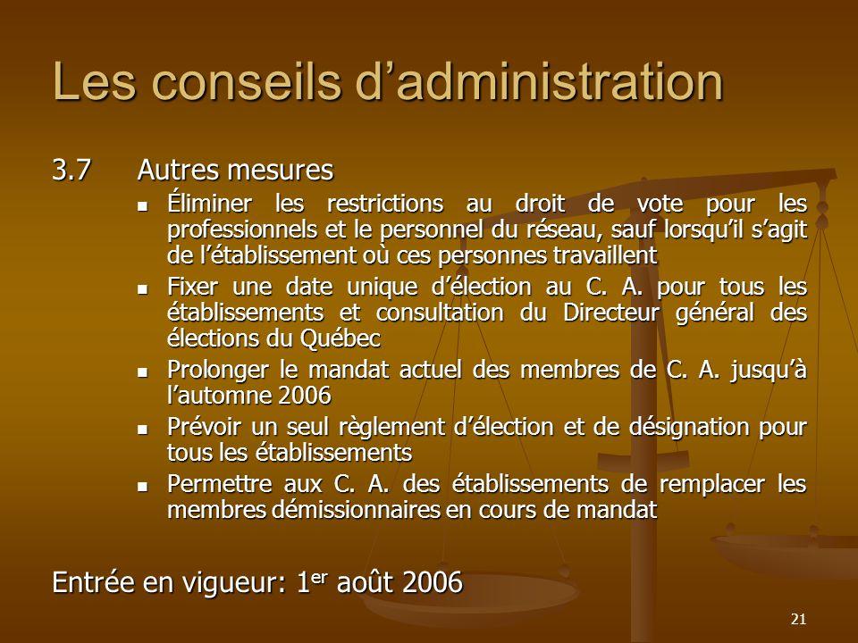 21 Les conseils dadministration 3.7Autres mesures Éliminer les restrictions au droit de vote pour les professionnels et le personnel du réseau, sauf l