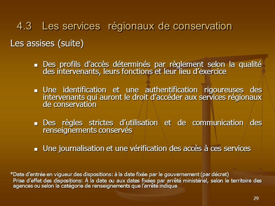 29 4.3Les services régionaux de conservation Les assises (suite) Des profils daccès déterminés par règlement selon la qualité des intervenants, leurs