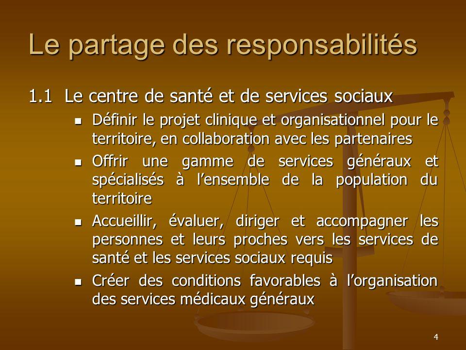 4 Le partage des responsabilités 1.1Le centre de santé et de services sociaux Définir le projet clinique et organisationnel pour le territoire, en col