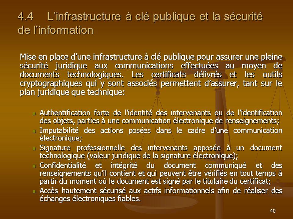 40 4.4Linfrastructure à clé publique et la sécurité de linformation Mise en place dune infrastructure à clé publique pour assurer une pleine sécurité