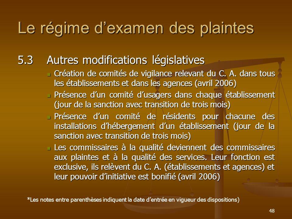48 Le régime dexamen des plaintes 5.3Autres modifications législatives Création de comités de vigilance relevant du C. A. dans tous les établissements