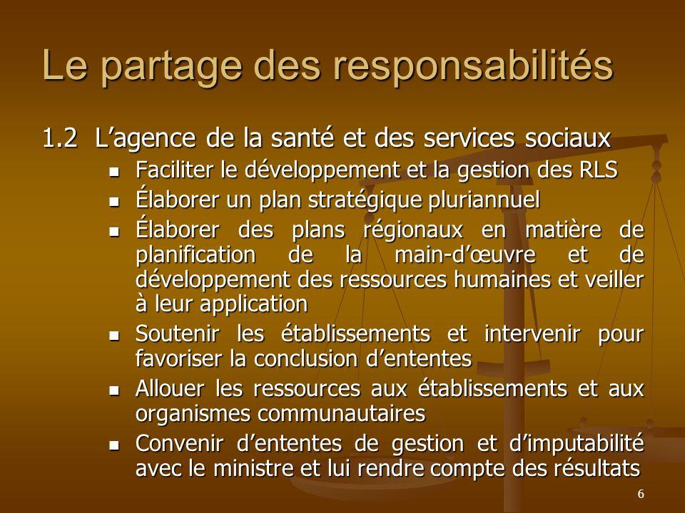 6 Le partage des responsabilités 1.2Lagence de la santé et des services sociaux Faciliter le développement et la gestion des RLS Faciliter le développ