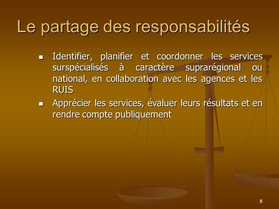 8 Le partage des responsabilités Identifier, planifier et coordonner les services surspécialisés à caractère suprarégional ou national, en collaborati