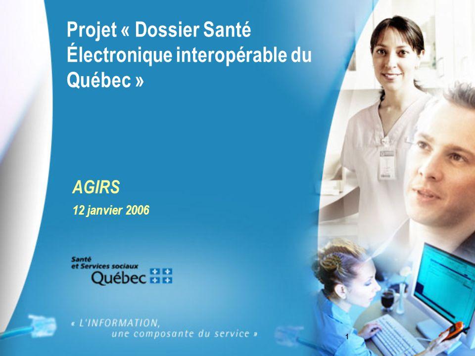 1 Projet « Dossier Santé Électronique interopérable du Québec » AGIRS 12 janvier 2006