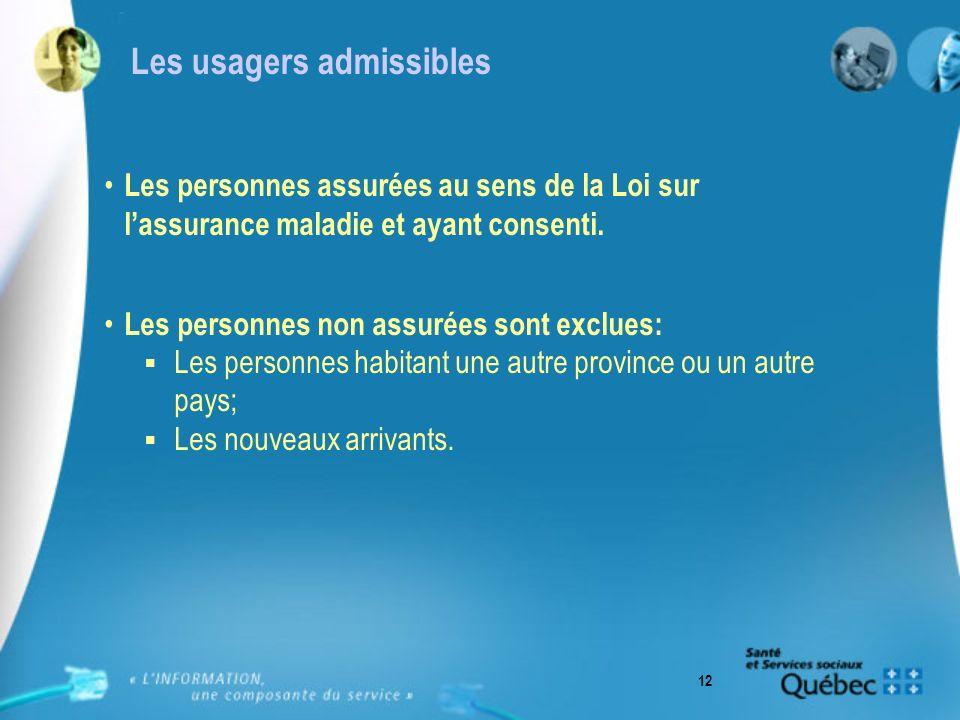 12 Les usagers admissibles Les personnes assurées au sens de la Loi sur lassurance maladie et ayant consenti.