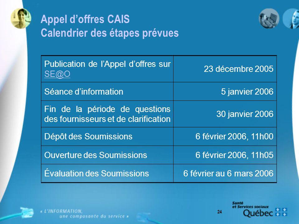 24 Appel doffres CAIS Calendrier des étapes prévues Publication de lAppel doffres sur SE@O SE@O 23 décembre 2005 Séance dinformation5 janvier 2006 Fin