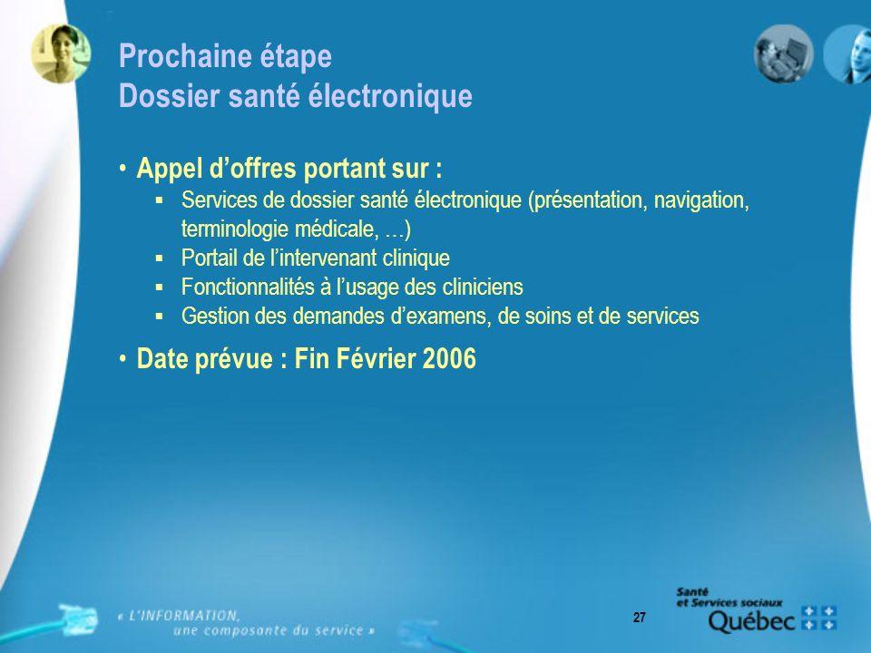 27 Prochaine étape Dossier santé électronique Appel doffres portant sur : Services de dossier santé électronique (présentation, navigation, terminolog