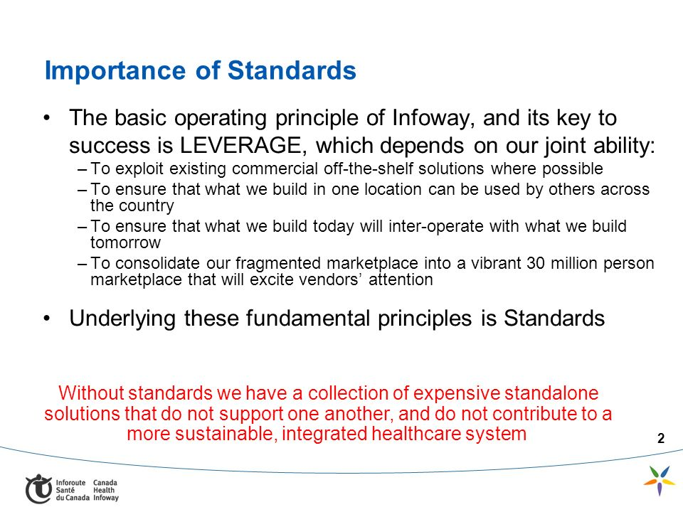2 Importance of Standards The basic operating principle of Infoway, and its key to success is LEVERAGE, which depends on our joint ability: –To exploit existing commercial off-the-shelf solutions where possible –To ensure that what we build in one location can be used by others across the country –To ensure that what we build today will inter-operate with what we build tomorrow –To consolidate our fragmented marketplace into a vibrant 30 million person marketplace that will excite vendors attention Underlying these fundamental principles is Standards Without standards we have a collection of expensive standalone solutions that do not support one another, and do not contribute to a more sustainable, integrated healthcare system