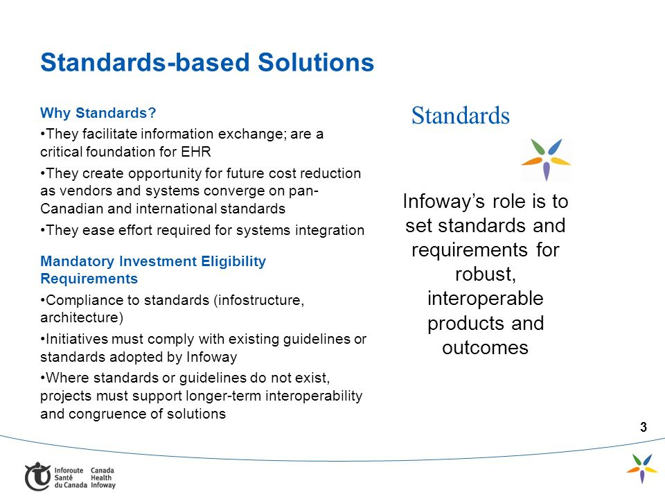3 Standards-based Solutions Why Standards? They facilitate information exchange; are a critical foundation for EHR They create opportunity for future
