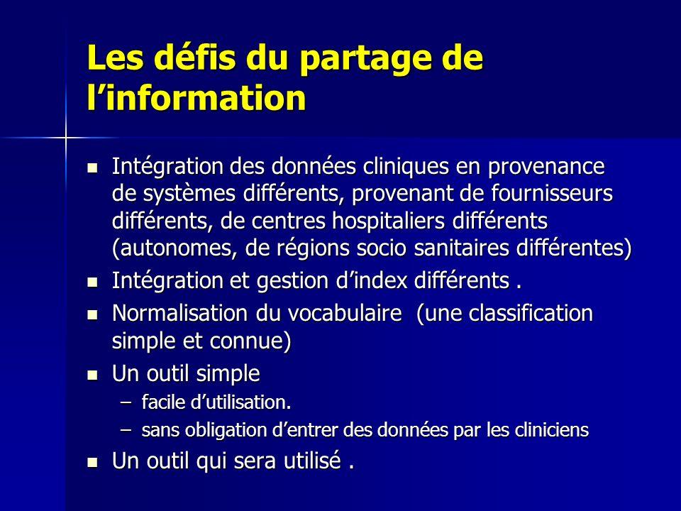 Les défis du partage de linformation Intégration des données cliniques en provenance de systèmes différents, provenant de fournisseurs différents, de