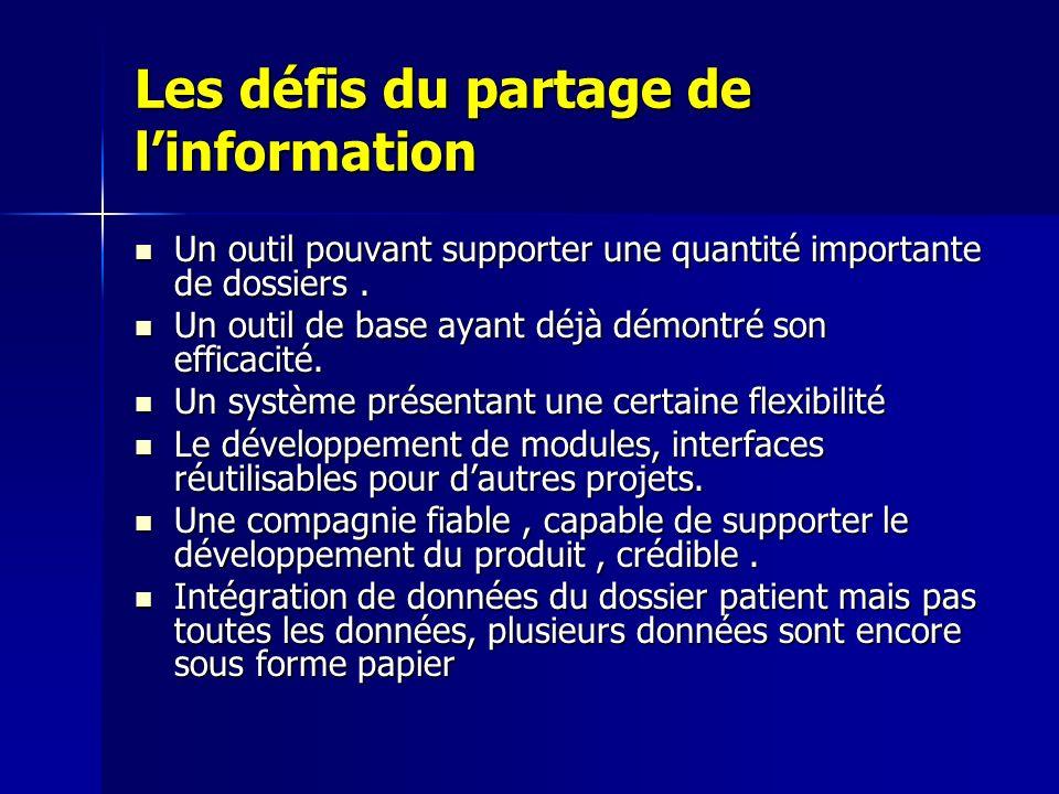 Les défis du partage de linformation Un outil pouvant supporter une quantité importante de dossiers. Un outil pouvant supporter une quantité important