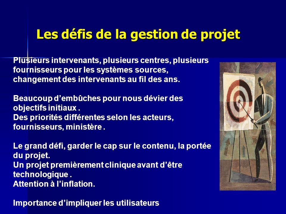 Les défis de la gestion de projet Plusieurs intervenants, plusieurs centres, plusieurs fournisseurs pour les systèmes sources, changement des interven