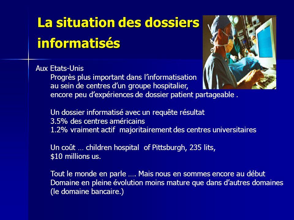 La situation des dossiers informatisés Aux Etats-Unis Progrès plus important dans linformatisation au sein de centres dun groupe hospitalier, encore p