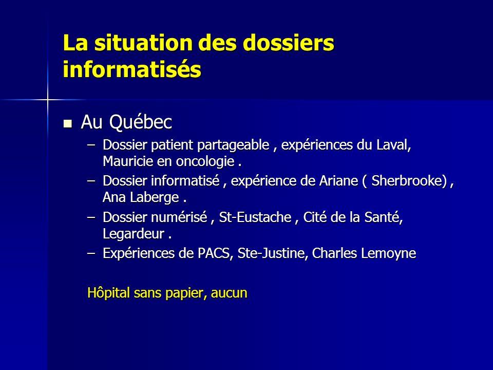 La situation des dossiers informatisés Au Québec Au Québec –Dossier patient partageable, expériences du Laval, Mauricie en oncologie. –Dossier informa