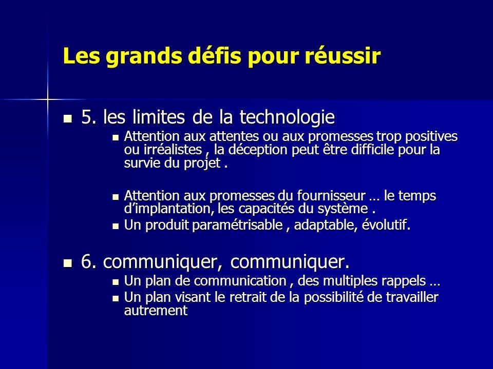 Les grands défis pour réussir 5. les limites de la technologie 5. les limites de la technologie Attention aux attentes ou aux promesses trop positives