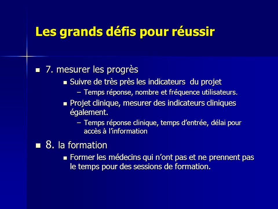 Les grands défis pour réussir 7. mesurer les progrès 7. mesurer les progrès Suivre de très près les indicateurs du projet Suivre de très près les indi