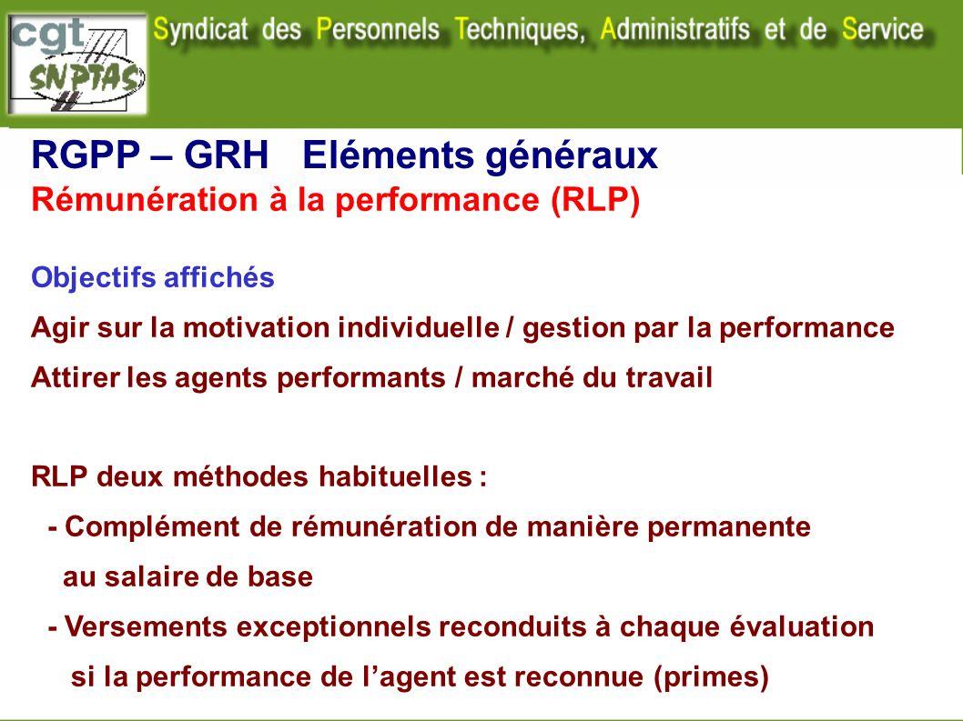 Rémunération à la performance (RLP) Objectifs affichés Agir sur la motivation individuelle / gestion par la performance Attirer les agents performants