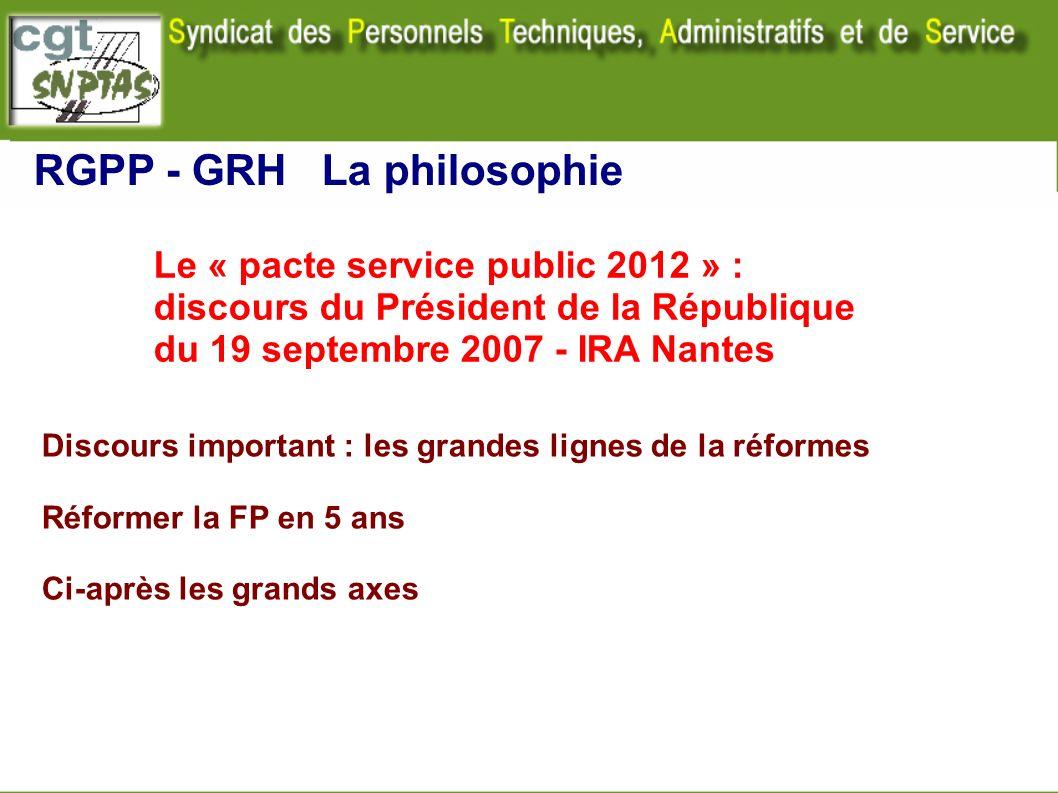 RGPP - GRH La philosophie Le « pacte service public 2012 » : discours du Président de la République du 19 septembre 2007 - IRA Nantes Discours importa