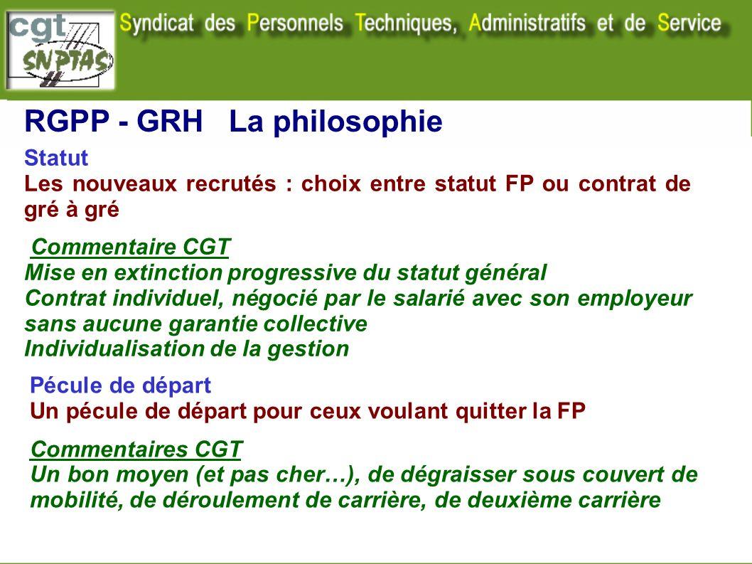 Statut Les nouveaux recrutés : choix entre statut FP ou contrat de gré à gré Commentaire CGT Mise en extinction progressive du statut général Contrat